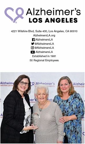 Left to Right: Heather Cooper Ortner, Alzheimer's LA President & CEO; Connie Keiter, philanthropist; and Sarah Jennings, Alzheimer's LA VP Major Gifts at the 2017 Alzheimer's LA Visionary Women's Luncheon.
