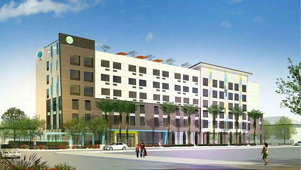 Rendering of the hotel planned for Inglewood near Rams Stadium