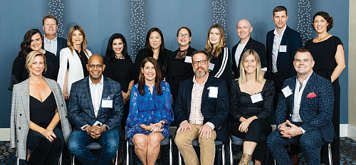 TOP ROW (l to r) Kristi Bergeron (BrainTrust - CAA), George Fox (Global Cosmetics Industry), Gina Kohler (FabFitFun) Rina Yashayeva (Women's Marketing), Taylor Babaian (KRE-AT Studios), Deborah Regosin (KORA Organics), Michaela Atkinson (Dash Hudson), Thomas Rankin (Dash Hudson), Jeb Gleason-Allured