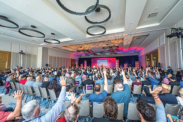A crowd fills the conference room at XYO Network's first conference at the InterContinental San Diego. About 700 people attended the Nov. 9 conference, which announced the launch of the startup's blockchain-based network. Photo courtesy of Jessica Bernstein