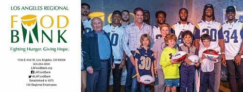Los Angeles Rams players and Los Angeles Regional Food Bank supporters on stage at the third annual Taste of the Rams event.
