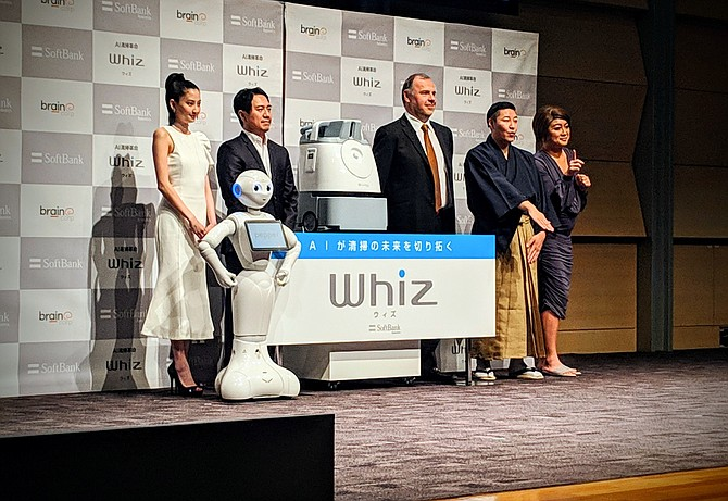 Brain Corp CEO Dr. Eugene Izhikevich reveals its first product for the Japanese market, a floor cleaning robot called Whiz, in partnership with SoftBank Robotics.