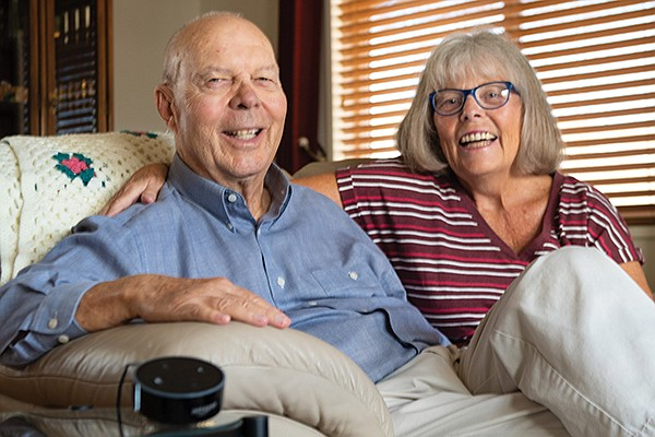 Dan Deninger and his wife, Cindy of Oceanside. They've embraced technology to help stay in their home as they age. Photo courtesy of Cuida Health