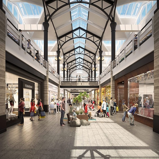 Rendering of renovated interior at Westfield Valencia Town Center.