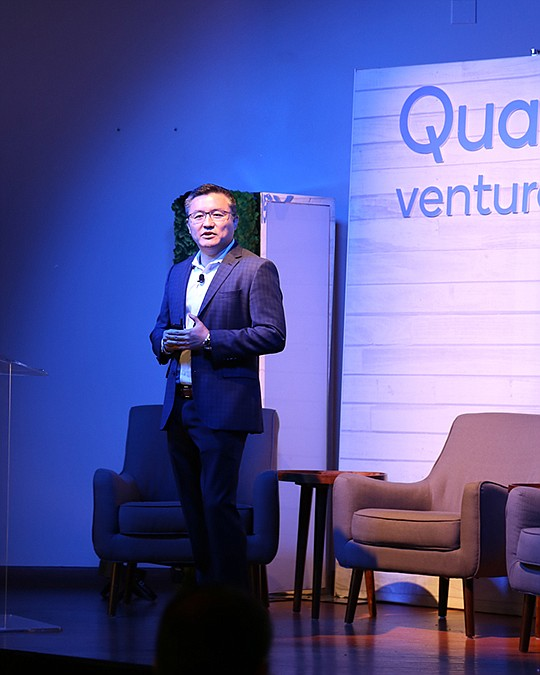 Quinn Li, global head of Qualcomm Ventures, provides opening remarks before the company launched its $100 million AI fund in San Francisco.