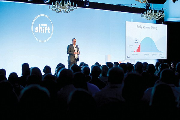 Seismic CEO Doug Winter presents at the company's recent customer conference at the San Diego Pendry Hotel. Winter just hired the company's first chief financial officer, who previously helped lead ServiceNow through its IPO. Photo courtesy of Seismic