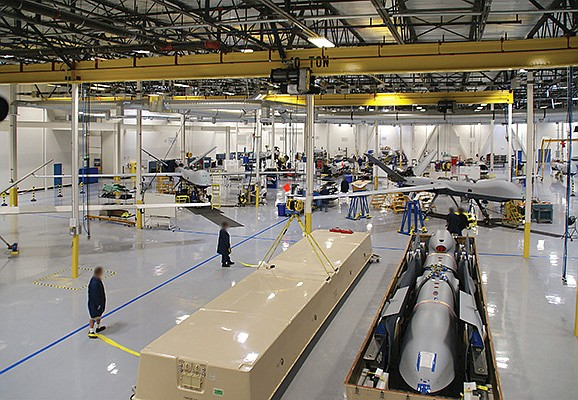 Predator family aircraft go together at the General Atomics Aeronautical Systems factory in a photo from 2009. In November, GA-ASI said it had entered negotiations with Belgium over a possible aircraft sale. File photo courtesy of General Atomics Aeronautical Systems Inc.