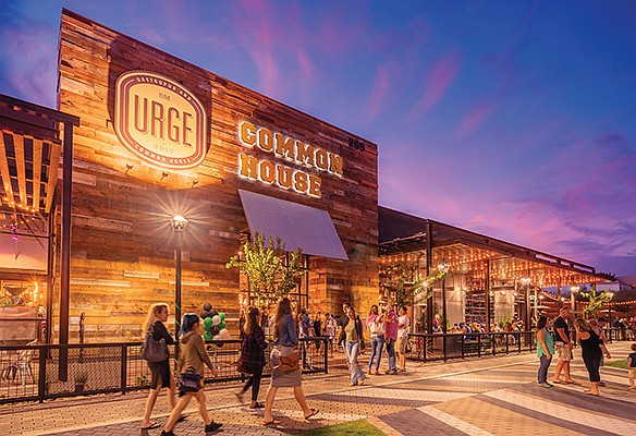 A former industrial building in North City has been converted into a craft beer brewery, tasting house and restaurant that includes a bowling alley and outdoor recreation space. Photo courtesy of Sea Breeze Properties