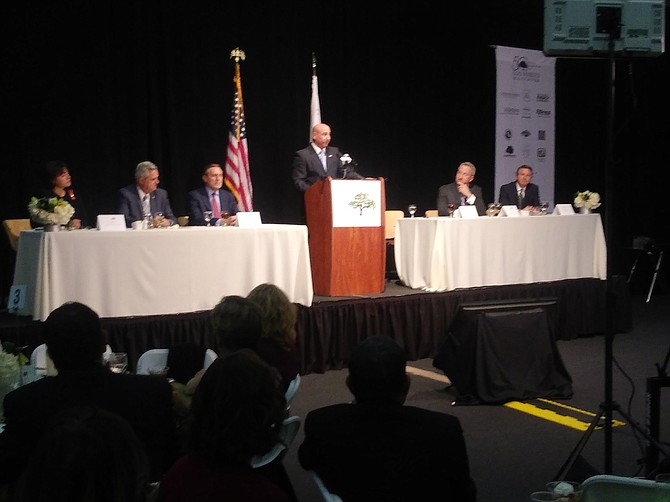 Mayor Andy Fox speaks during the Thousand Oaks State of the City Address event at California Lutheran University.