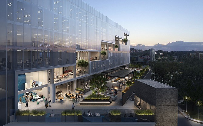 Rendering of The Entrada, a proposed 300,000-square-foot office space in Culver City.