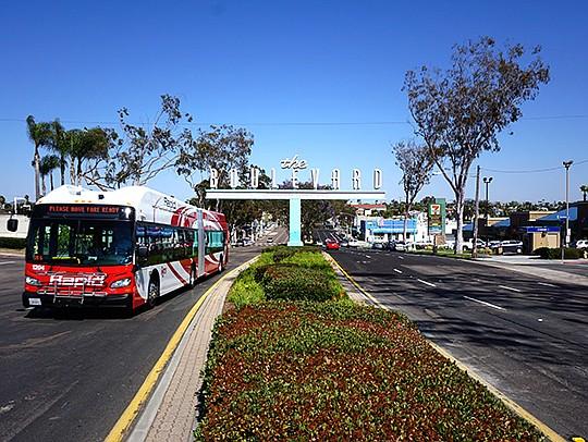 A sign over El Cajon Boulevard welcomes visitors. Photo courtesy of the El Cajon Business Improvement Association