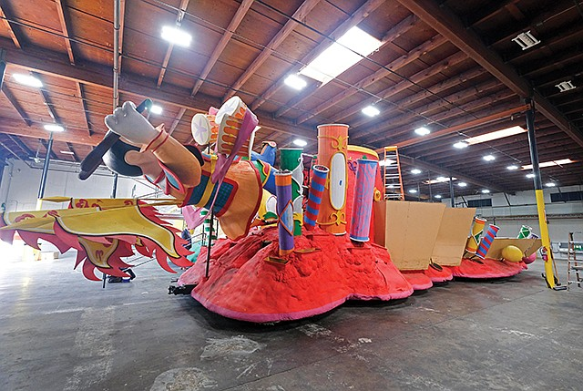 Flower Power: A float waits for flowers to be added for the 2019 Rose Parade.