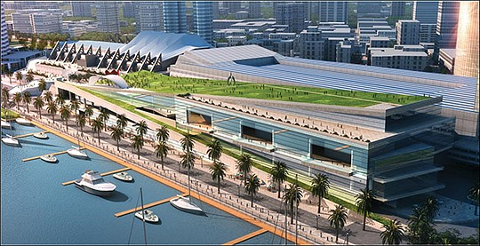 A plan to expand the downtown convention center failed to make the November 2018 ballot but could go to voters in 2020. Rendering courtesy of the Port of San Diego