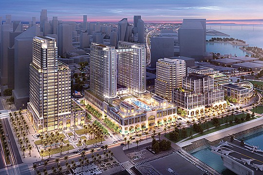 Construction has started on the $1.5 billion Manchester Pacific Gateway project along San Diego's waterfront. Rendering courtesy of Manchester Financial Group