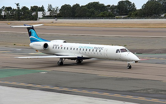 California Pacific Airlines uses a small fleet of 50-seat regional jets made by Embraer. Photo courtesy of California Pacific Airlines
