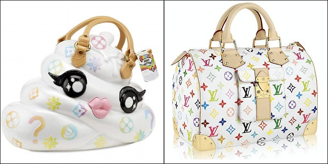 MGA Entertainment's Poopsie Pooey Puitton Slime Surprise Kit and Carrying Case, left, and a Louis Vuitton Multicolore Monogram handbag, right