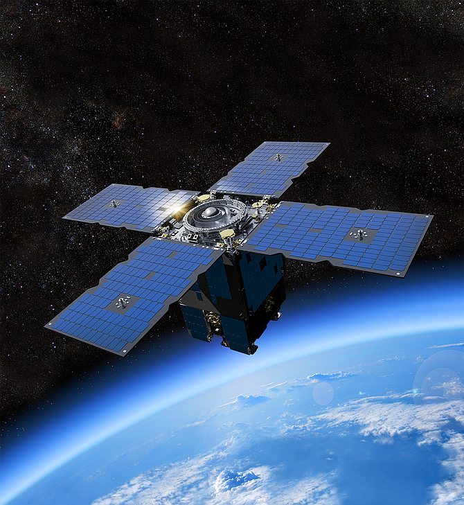 An artist's rendering shows an Orbital Test Bed satellite similar to the one that will carry the Argos Advanced Data Collection System into space. Rendering courtesy of General Atomics Electromagnetic Systems.