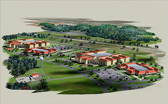 An artist's rendering shows Harper Construction's barracks projects at Fort Sill, Oklahoma. Rendering courtesy of Harper Construction Co. Inc.