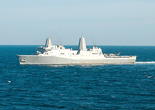 The USS San Antonio is an amphibious transport dock. Raytheon Co. received a contract to support the electronics on such ships, with 80 percent of the work flowing to San Diego in 2019. Photo courtesy of U.S. Navy