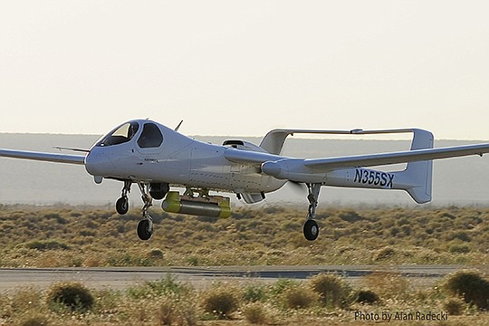 Northrop Grumman Corp.'s Firebird aircraft — which can fly with or without a pilot onboard — takes to the air. Photo courtesy of Northrop Grumman Corp.