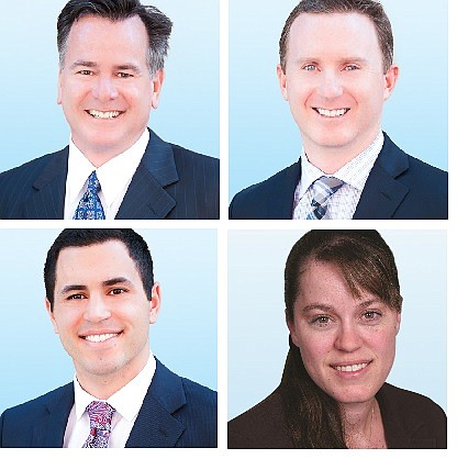 Newmark Knight Frank brokers: John DeGrinis, top left; Patrick DuRoss, top right; Jeff Abraham, bottom left; and Kate Borden, bottom right.