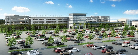 Rendering of parking structure at Charleston International Airport.