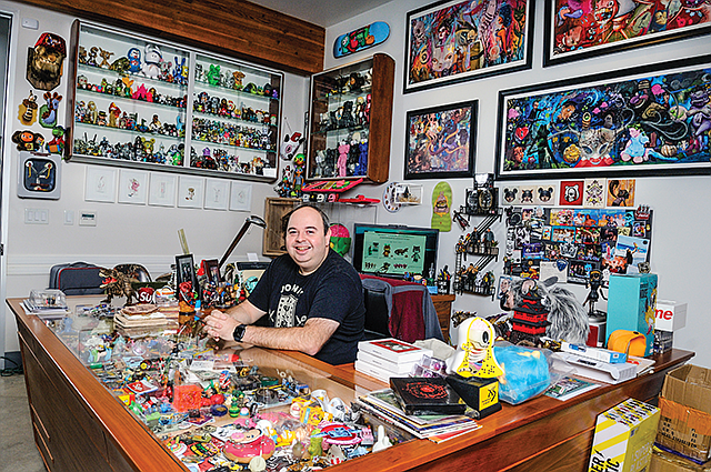 Cool Clutter: Goretsky's office is lined with toy art.