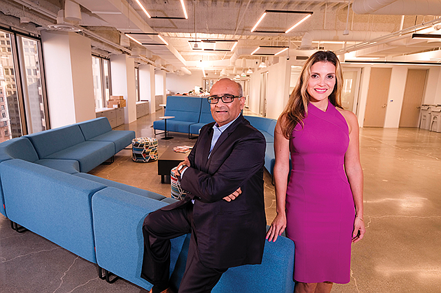 Downtown Digs: Commercial Bank's Patel and Bodan at Los Angeles HQ.