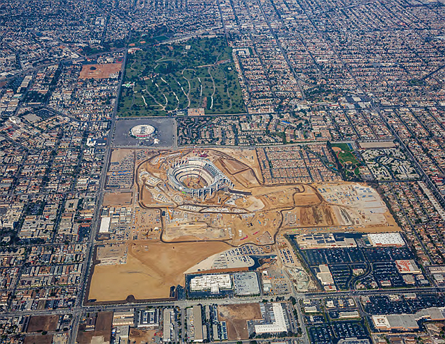 Cavernous Construction: Aerial view of the Inglewood stadium in November.