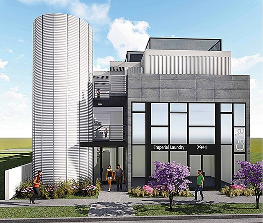 Vhipping containers would be converted into living spaces under a plan by a San Diego developer. Rendering courtesy of Makana Properties