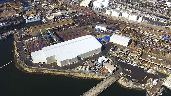 Aerial view shows the 71,000-square-foot building housing the new thin plate panel line at the General Dynamics NASSCO shipyard in Barrio Logan. Photo courtesy of General Dynamics NASSCO.