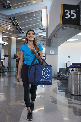 Passengers and airport employees make food and/or product orders on the AtYourGate app, and the delivery person brings it to them within 20 to 30 minutes. The service can also deliver things like headphones and last-minute gifts. Photo courtesy of AtYourGate
