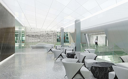 The lobby of Tower 180 has been redone as part of a $55 million renovation. Rendering courtesy of Hammer Ventures
