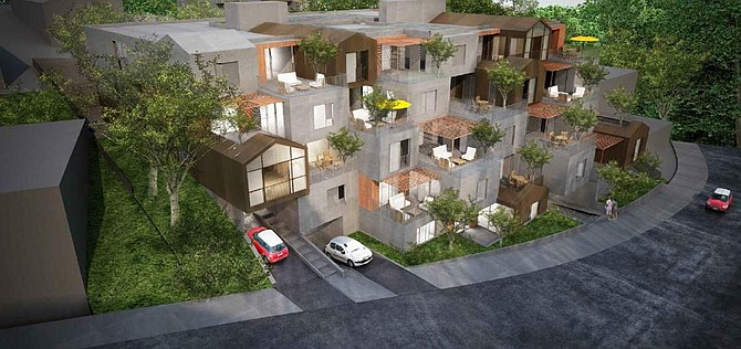 Rendering of proposed apartment complex at 3649-3657 Regal Place in Studio City.