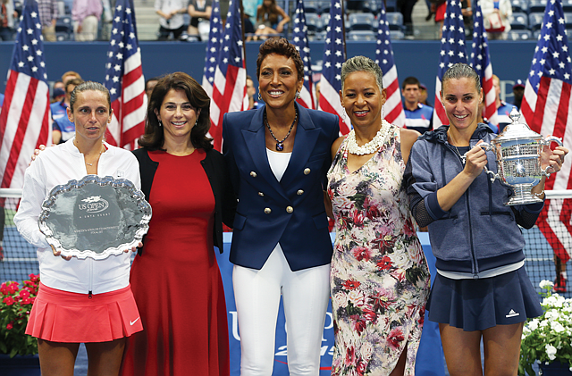 Winners Circle: Kelly Coffey (second from left) at trophy presentation after the final of the 2015 U.S. Open.