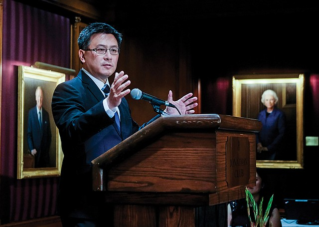 Speaking Out: Chiang gives a speech at a 2016 event at the Jonathan Club downtown.