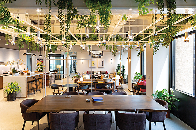 Flexible Space: The lounge area at Industrious' Century City co-working location.