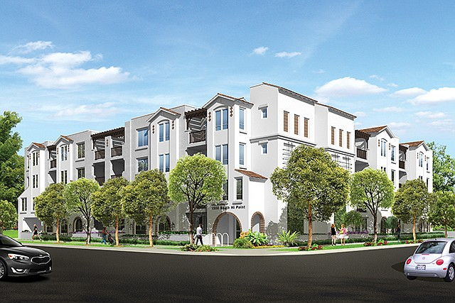 Rendering: Multifamily project under development at 1556-1564 Hi Point St.
