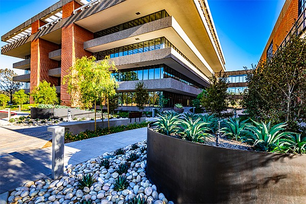 Ampersand, the renovated former campus of the San Diego Union-Tribune in Mission Valley, is among office space leasing in 2018 and 2019. Photo courtesy of La Jolla Visions/Javier Laos