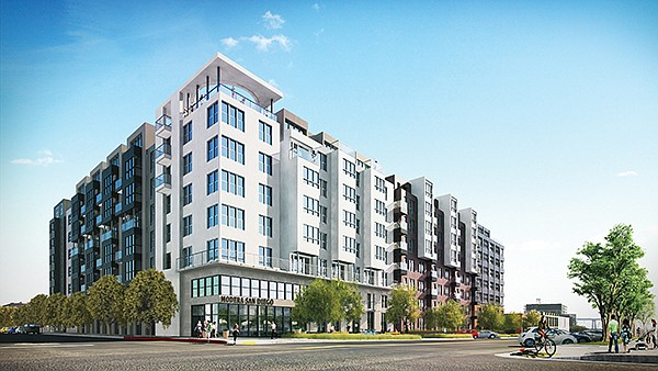Modera San Diego brings a different look to San Diego's East Village. Aside from its relatively diminutive stature, Modera is notable for a design that changes from modern to historic from one side of the building to the next in keeping with the look of the neighborhood. Rendering courtesy of Mill Creek Residential