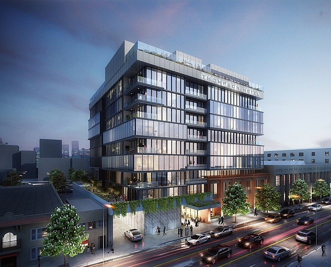 Rendering of the planned Thompson Hotel in Hollywood