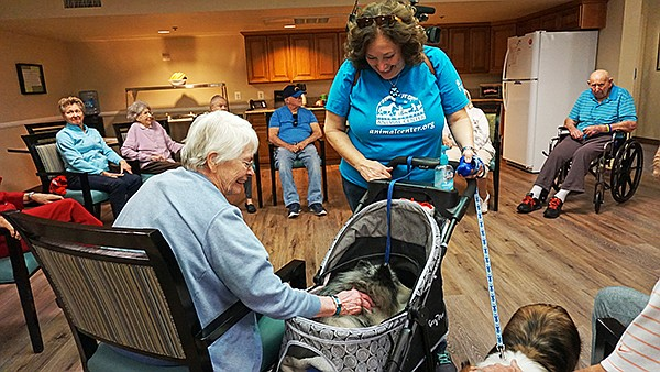 Robin Cohen, a 10News Leadership award winner, and her dog Balonee visit a nursing home as part of the Helen Woodward Animal Center's Pet Encounter Therapy program. Photo courtesy of Helen Woodward Animal Center