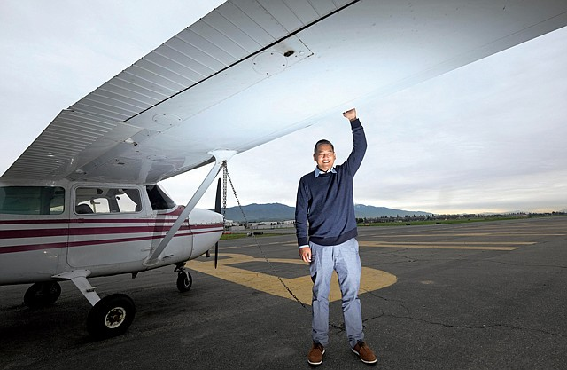 Lofty Goals: Float Shuttle Co-founder Arnel Guiang at Brackett Field in La Verne.