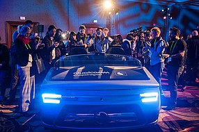 """A demo cockpit at the Consumer Electronics Show in Las Vegas shows Qualcomm's technology. Qualcomm announced it is developing a new Snapdragon chipset for vehicle """"infotainment"""" systems that will be sold in 2021. Photo courtesy of Qualcomm Inc."""