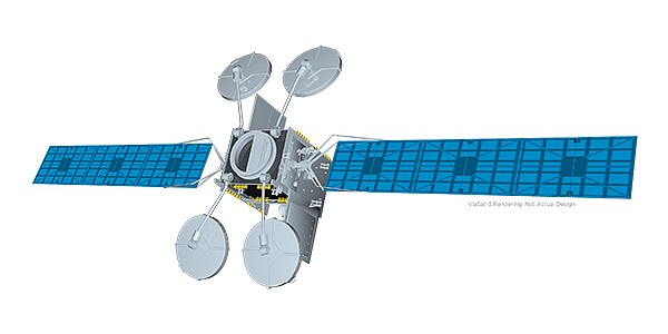 Viasat Inc. has chosen a Boeing design for its three ViaSat-3 satellites. Rendering courtesy of Viasat Inc.