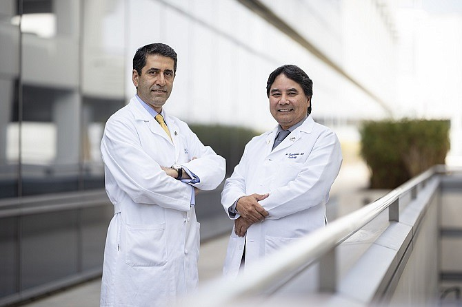 Cardiothoracic surgeon Fardad Esmailian, left, with Jon Kobashigawa, director of the Cedars-Sinai heart transplant program. (Photo by Cedars-Sinai)