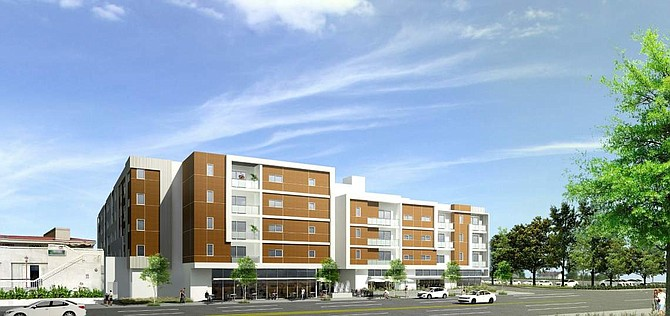 Rendering of project at the northwest corner of Nordhoff Street and Darby Avenue in Northridge.