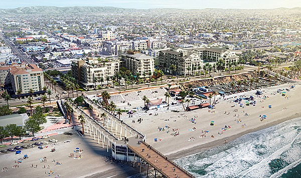 A $200 million twin hotel project by S.D. Malkin Properties is among several projects bringing new life to downtown Oceanside. Rendering courtesy of S.D. Malkin Properties