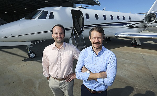Casey Miller, president, and Solomon Short, director of operations, of Latitude 33 Aviation, which manages, charters and sells aircraft and is based at McClellan-Palomar Airport in Carlsbad. File photo by Jamie Scott Lytle
