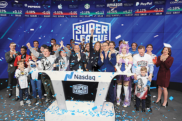 Super League Gaming executives at the company's NASDAQ debut in February 2019.